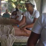 Students performing treatments at HWSETA woman' celebration.