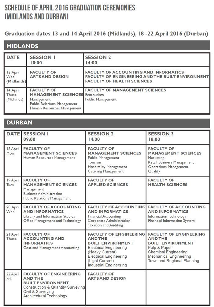 April Graduation 2016 Durban University Of Technology
