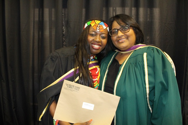 Philiswa Dlamini with her supervisor after graduation