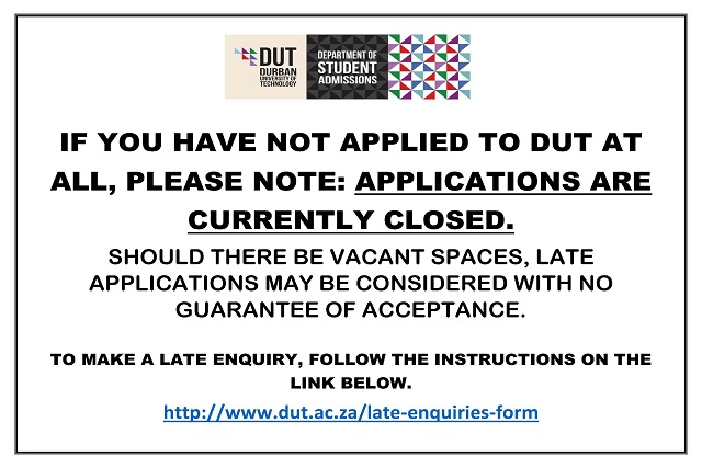 DUT Late Application Enquires For 2018