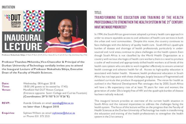 inauguration lecture Prof Sibiya