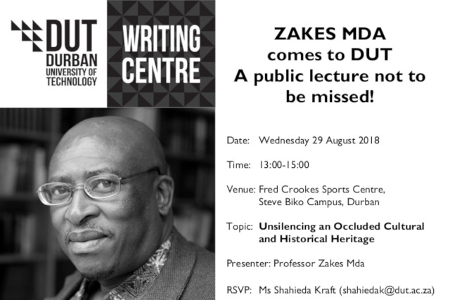 Zakes Mda comes to DUT Public Lecture Poster