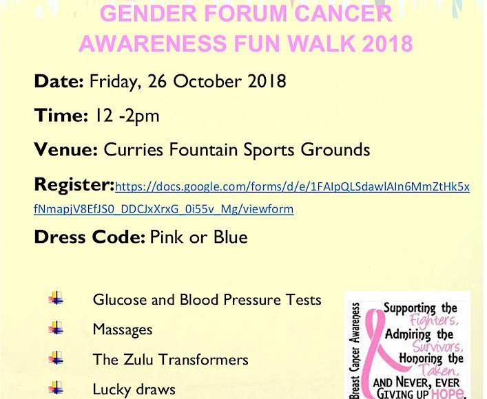 Gender Forum Fun Walk 2018 invite