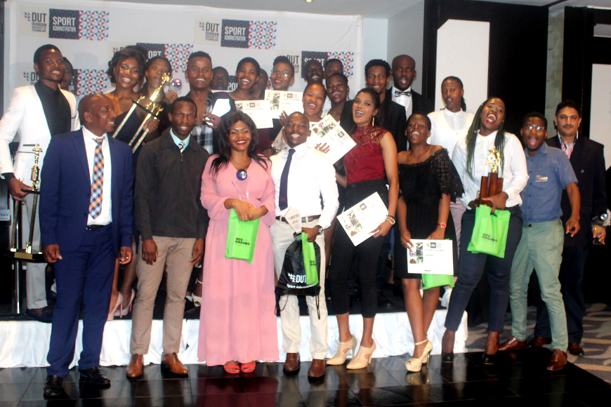Winners celebrating with their prizes at the DUT Sports Awards
