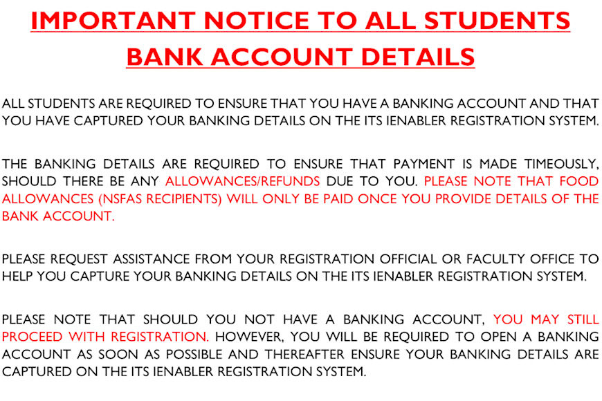 BANKING DETAILS IMPORTANT NOTICE TO ALL STUDENTS