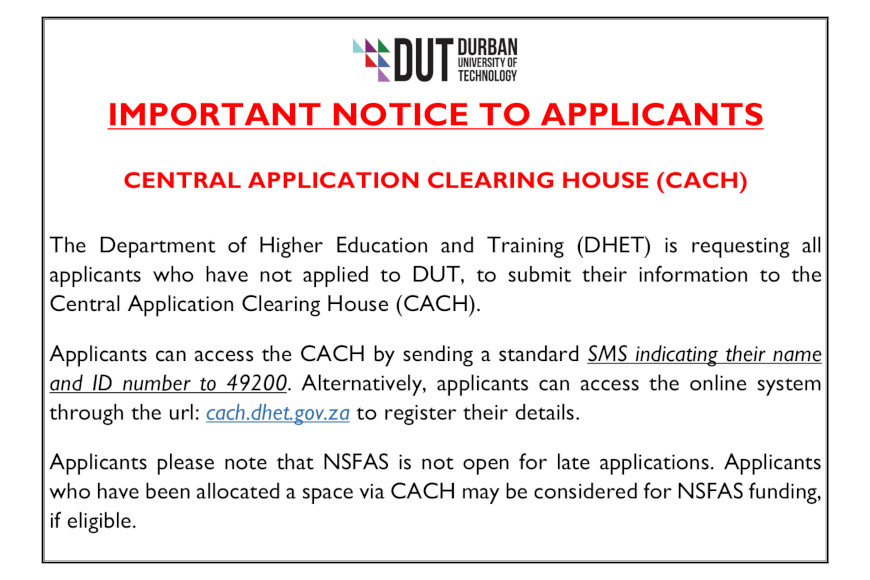 Unregistered applicant CACH
