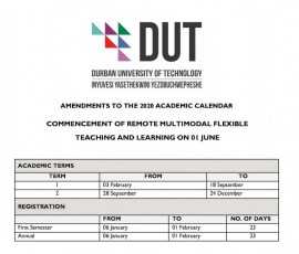 Amended DUT Academic Calendar