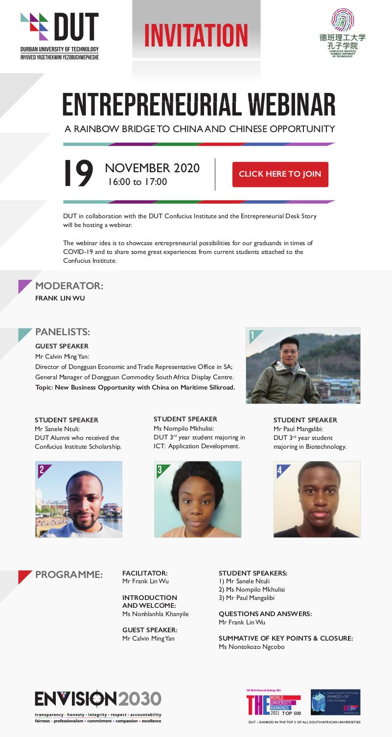 DUT Entrepreneurial Webinar Invitation