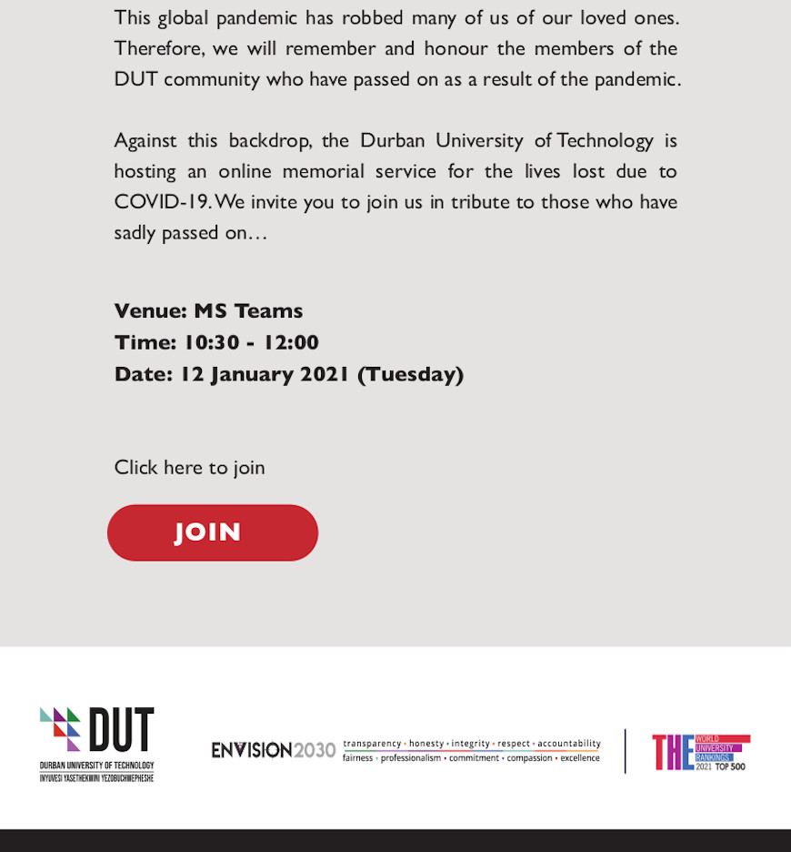 DUT Memorial Service for COVID-19 Victims1