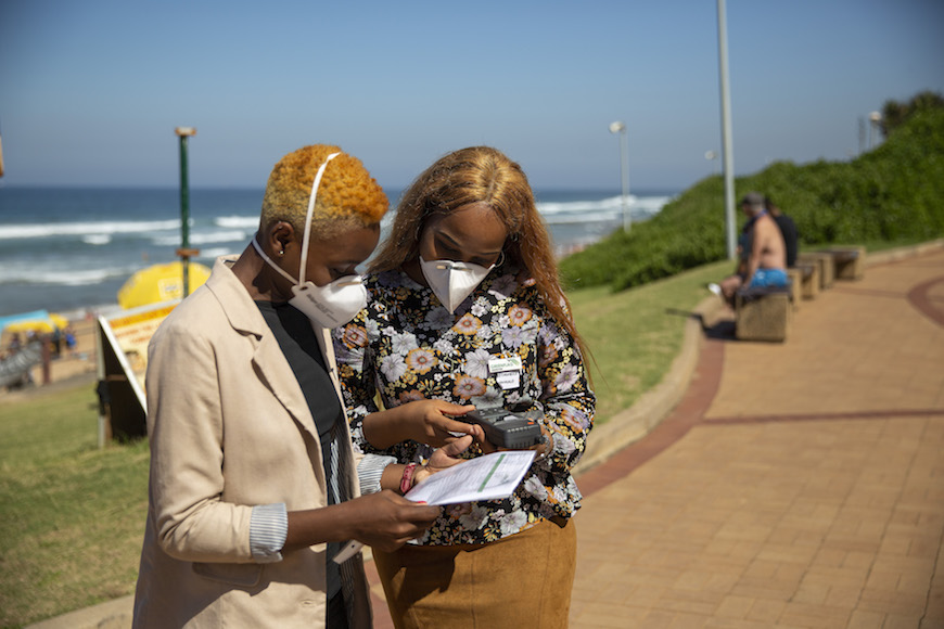 Students from DUT measure the CO2 levels on the Umhlanga Promenade in Durban, South Africa during the launch of the Greenflag initiative. Picture: GREENFLAG
