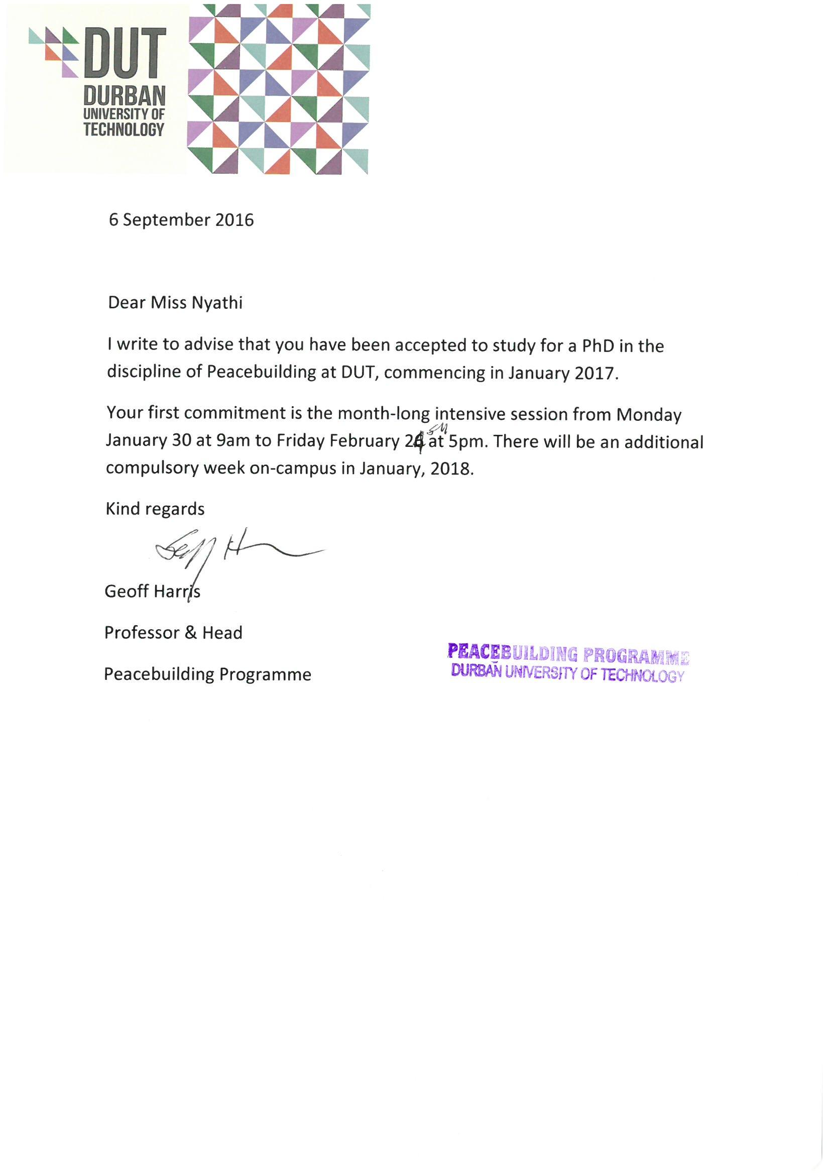 Acceptance letter durban university of technology acceptance letter altavistaventures Images